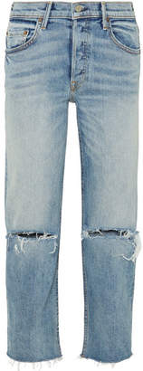 GRLFRND Helena Distressed High-rise Straight-leg Jeans - Light denim