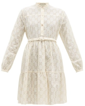 Gucci Gg Sangallo Lace Cotton Blend Dress - Womens - White Gold