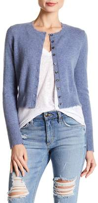 Minnie Rose Frayed Edge Cropped Cashmere Cardigan