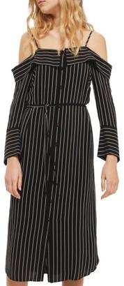 Women's Topshop Pinstripe Midi Shirtdress $95 thestylecure.com