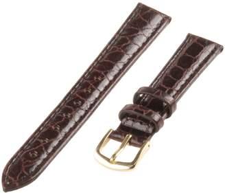 Republic Women's Crocodile Grain Leather Watch Strap 14mm Regular Length, Brown