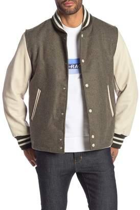 Rag & Bone Leather Panel Wool Varsity Jacket