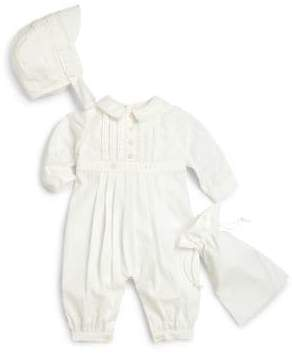 Ralph Lauren Infant's Three-Piece Pintucked Christening Coverall, Hat& Storage Bag Set