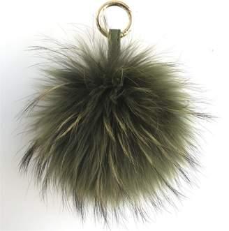 "ONLYFURYOU 15cm 6"" Real Raccoon Fur Ball Pom Pom w Bowknot Keychain Bag Charm"