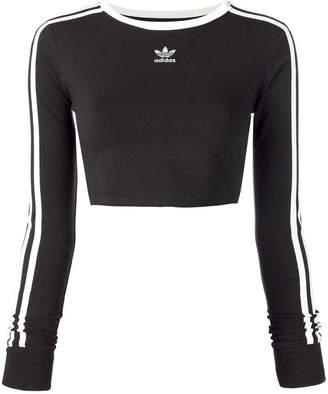 Womens Black Adidas Crop Top Shopstyle Uk