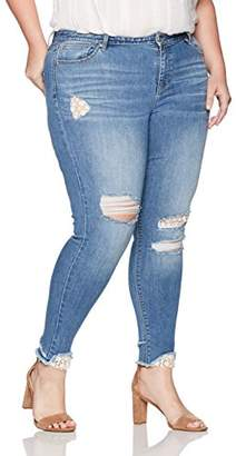 Denim Crush Women's Crochet Patch Repair Skinny Jean Plus Size