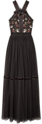 Needle & Thread Esther Bow-detailed Embellished Point D'esprit Tulle Gown - Charcoal