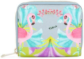Furla flamingo print zip around wallet