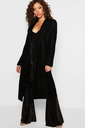 boohoo Longline Collared Wool Look Coat