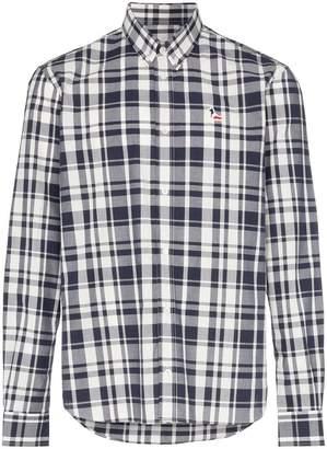 MAISON KITSUNÉ logo embroidered check cotton shirt