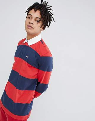 Tommy Jeans Classic stripe rugby polo flag logo in navy/red