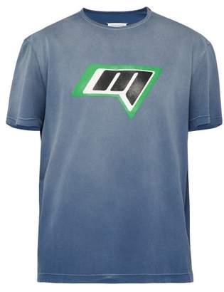 Maison Margiela Racer Logo Cotton Jersey T Shirt - Mens - Grey