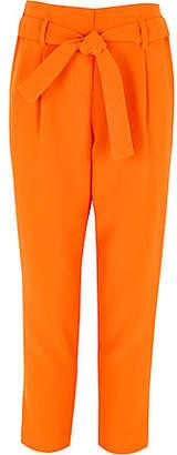 River Island Girls orange tie waist tapered pants
