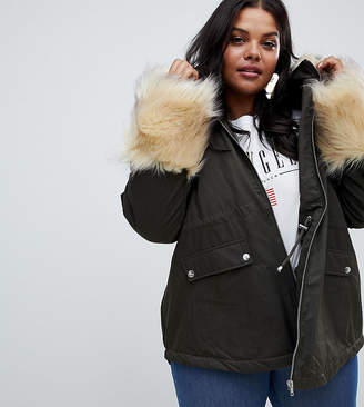 Asos Parka With Faux Fur Collar And Cuff