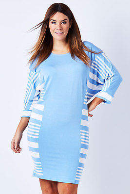 NEW See Saw Womens Knee Length Dresses Stripe Batwing Dress SkyWhite