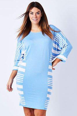 NEW See Saw Womens Knee Length Dresses Stripe Batwing Dress SkyWhite - Dresses