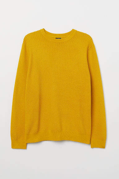 H&M - Textured-knit Sweater - Yellow