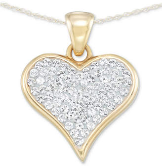 "Swarovski Signature Gold Diamond Accent Crystal Heart 18"" Pendant Necklace in 14k Gold over Resin"