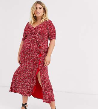 Asos DESIGN Curve long sleeve wrap maxi dress in ditsy print