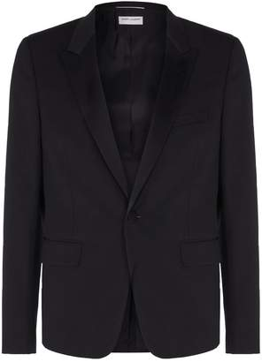 Saint Laurent Satin Peak Lapel Tuxedo Jacket