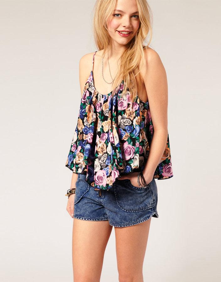 Reverse Floral Print Crop Cami Top