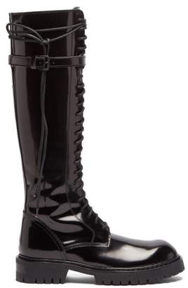 Ann Demeulemeester Knee High Lace Up Patent Leather Boots - Womens - Black