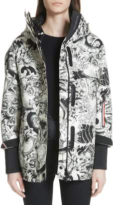 Moncler Neves Tattoo Print Hooded Down Coat
