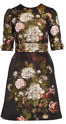 Dolce & Gabbana Women's Elbow-Length Sleeve Floral Dress
