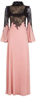 Costarellos Lace Bodice Velvet Gown