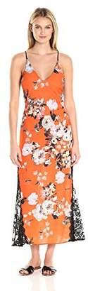 ABS by Allen Schwartz Women's Summer Floral Printed Slip Gown with Contrast Lace