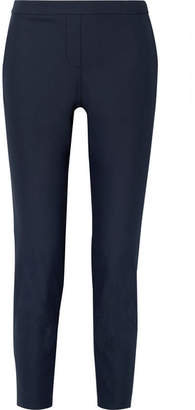 Theory Thaniel Cropped Stretch Cotton-blend Twill Slim-leg Pants - Navy