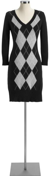 Women's Argyle V-Neck Sweater Dresses