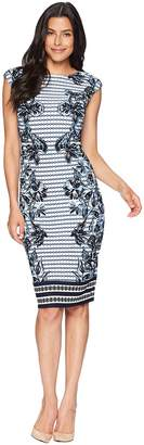 Vince Camuto Printed Scuba Bodycon Dress Women's Dress