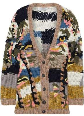 Valentino Embroidered Wool, Cashmere And Silk-blend Cardigan