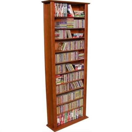 """Venture Horizon 76"""" Tall CD DVD Wall Media Storage Rack-Oak"""