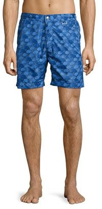 Peter Millar The Great Waves Swim Trunks, Royal Blue $168 thestylecure.com