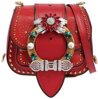 Miu Miu Dahlia Shoulder Bag W/ Crystal Buckle