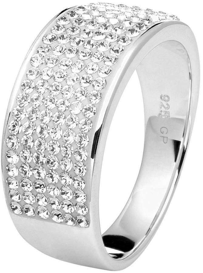 STERLING SILVER RHODIUM PLATED CLEAR SWAROVSKI CRYSTALS 8MM BAND RING