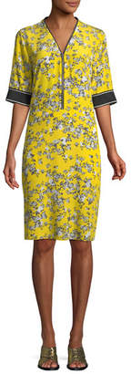 Rag & Bone Cecile V-Neck Half-Sleeve Floral-Print Silk Dress