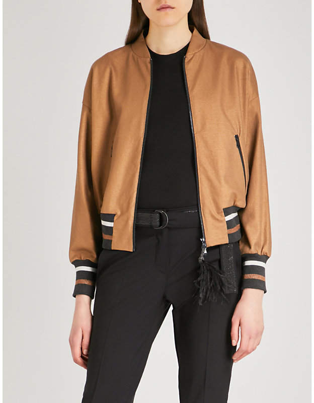 Feather-detailed cotton bomber jacket