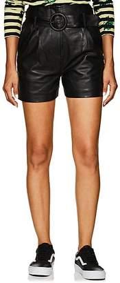 Jagger LES COYOTES DE PARIS Women's Leather Belted Shorts - Black