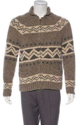 Vince Fair Isle Knit Zip Sweater
