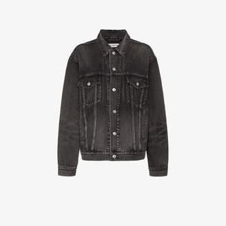 Balenciaga black long sleeve logo print denim jacket