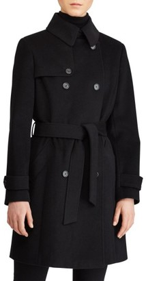 Women's Lauren Ralph Lauren Wool Blend Trench Coat $300 thestylecure.com