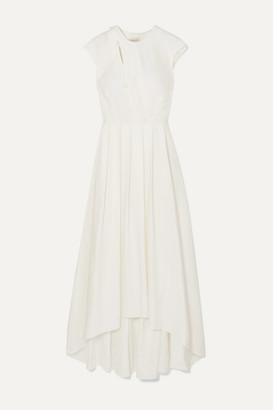 Zeus+Dione ZeusDione - Ariana Asymmetric Pleated Twill Maxi Dress - Ivory