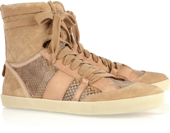 Chloé Suede, leather and ayers high-top sneakers