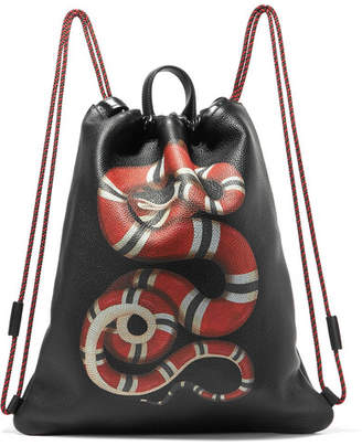 Gucci Merveilles Printed Textured-leather Backpack - Black