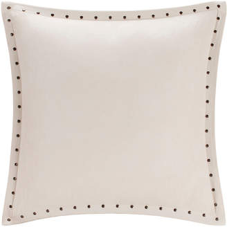 Reiss Madison Park Stud Trim Microsuede Square Feather Pillow