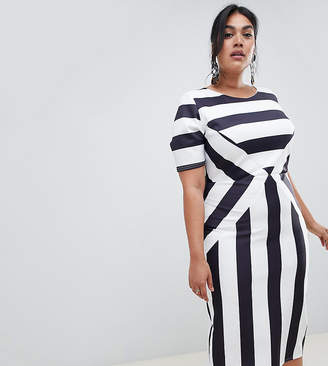 True Violet Plus scuba bodycon dress in stripe b8569588b78e