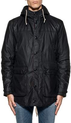 Barbour Blue Game Waxed Cotton Hooded Jacket